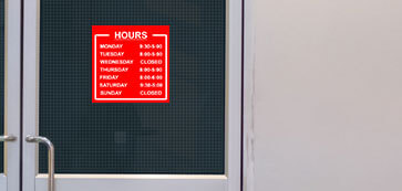 Red Hours of Operation Sign