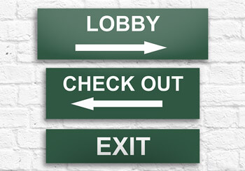 Lobby, Exit & Checkout Signs